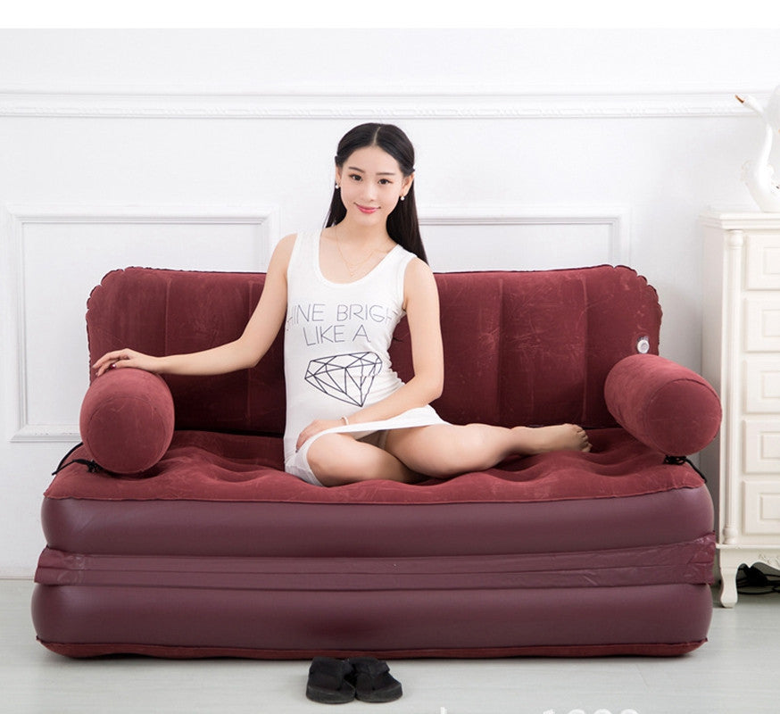 flocking PVC adult children Inflatable sofa bed pull out Lounge furniture Thickening folding air couch 96cm x 152cm x88cm