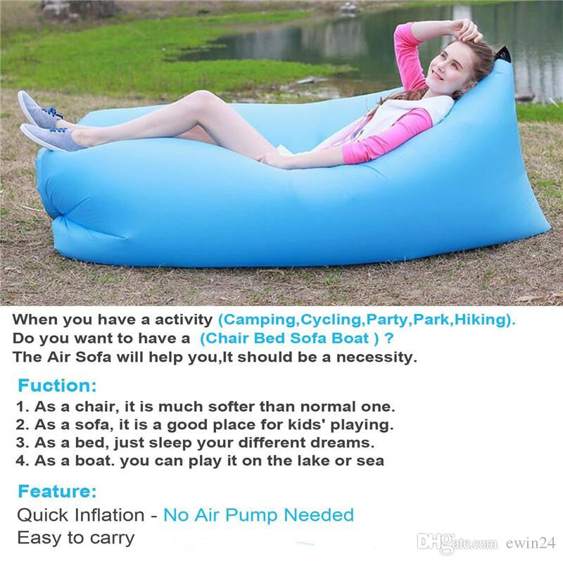 Inflatable Lounger Chair Air Sleep Sofa Bed For Outdoor or Indoor Foldable Lazy Bag Couch Portable Waterproof Camping