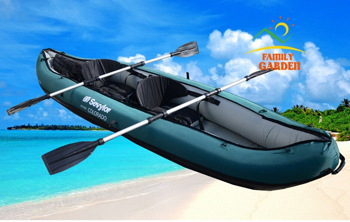 2016 New Design 2 Person Inflatable Fishing Boat Kayak Canoe With Nylon Coat Oars Pump For Drifting Surfing Sandbeach