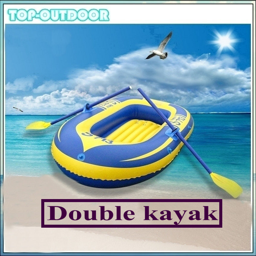 2 People Double Person Rowing Boat Kayak Inflatable Drifting Boat Canoe Canoeing Air Boat Cart for Water Sports Game Fishing