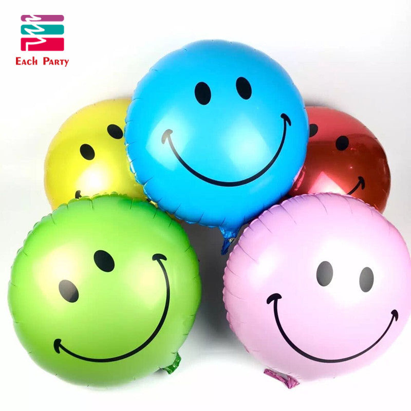 Smile face balls Helium foil Balloons kids Happy Birthday globos wedding Decoration Air ballons inflatable toys for children