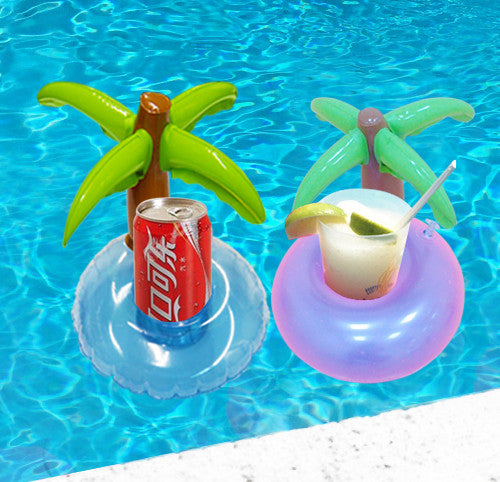 5 Pieces/Set Mini Coconut Tree Drink Holder Inflatable Floats Swim Pool Beach Party Kids Adult Swim Beverage Holders Wholesale