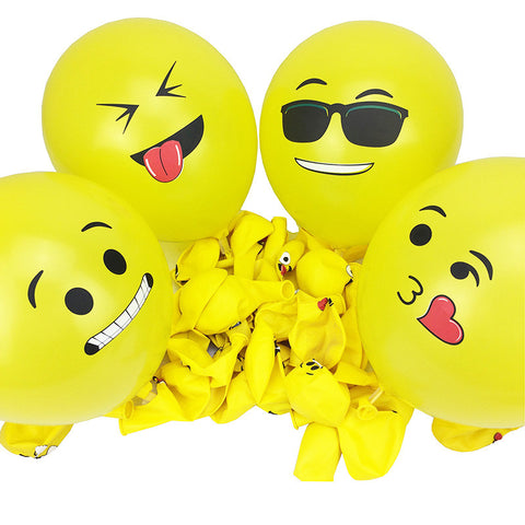 12 Inch Smiley Face Emoji Balloon 100 Pcs Happy Birthday Decoration Inflatable Balls Wedding Party Balloons Kids Toys W747