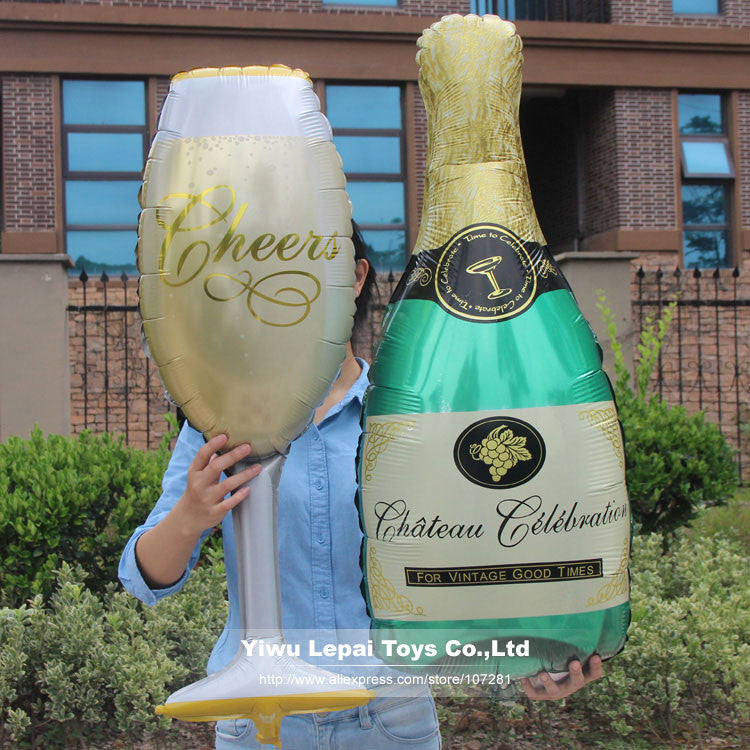 1set Large champagne and wine glass Foil balloon,special wedding or party decoration inflatable jumbo party balloon toys.