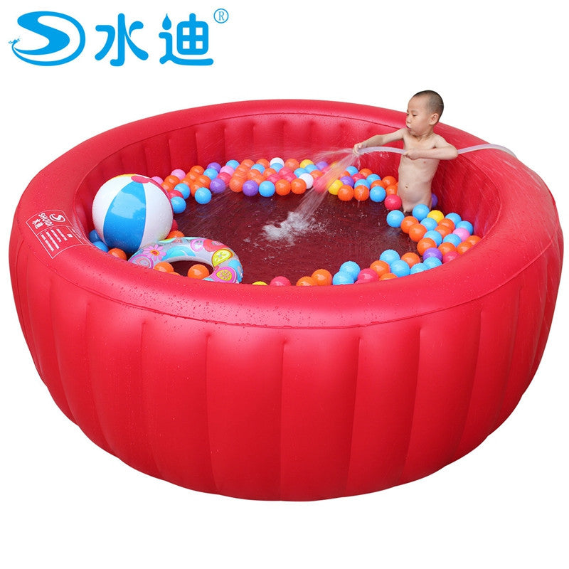 Extra large red round with inflating pump children tub Portable Inflatable family adult Swimming Pool kid Bath Tub 200cm x 80cm