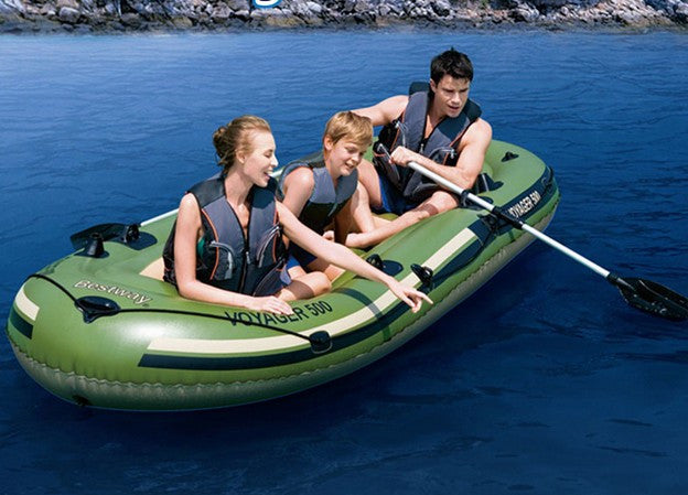 inflatable kayak fishing boat size 384x142cm 0.55mm pvc for 3 persons with paddle and foot pump
