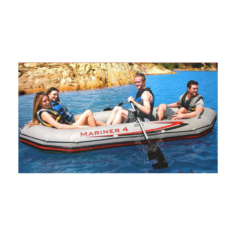 Free shipping INTEX MARINER SUPER 4 person inflatable boat 328*145*48cm, 137cm Aluminium oards, hand pump, repair patch