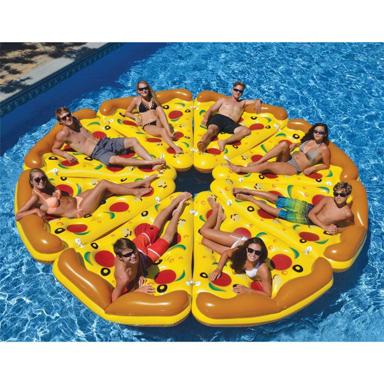 180*145 Water Toy Summer Holiday Float Bed Inflatable Pizza Slice Floating Bed Swimming Pool Toys Lounge Seat Air Mattress Raft