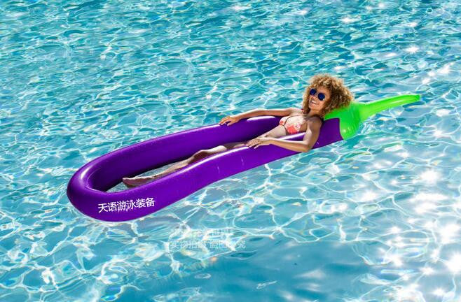 260cm 102inches Giant Swimming Float Inflatable Eggplant Aubergine Brinjaul Mesh Pool Air Mattress Lounges Water Toys Fun Raft