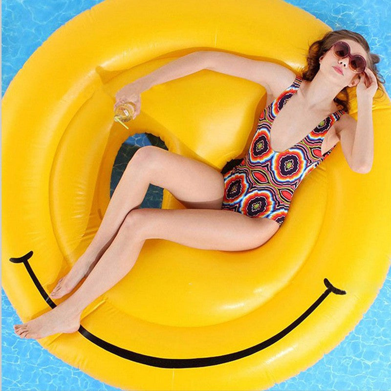 160cm 63inch Giant Smile Face Inflatable Swimming Broad Pool Float Water Fun Toys Air Mattress Beach Lounger Raft Boia Piscina