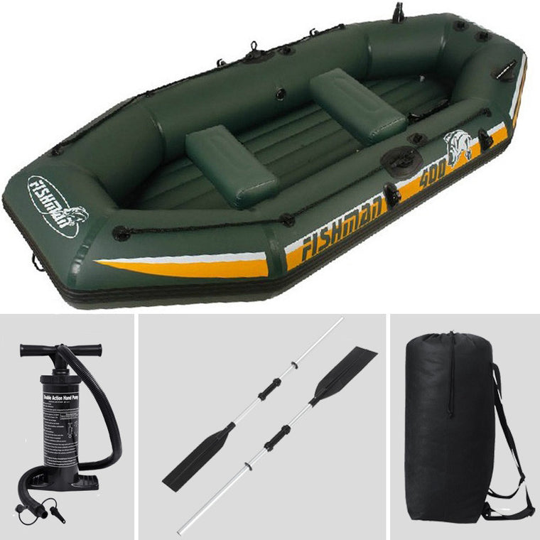 inflatable 3 preson inflatable boat fishing boat 295*128*43cm, 137cm Aluminium oar, hand pump, carry bag, repair kit