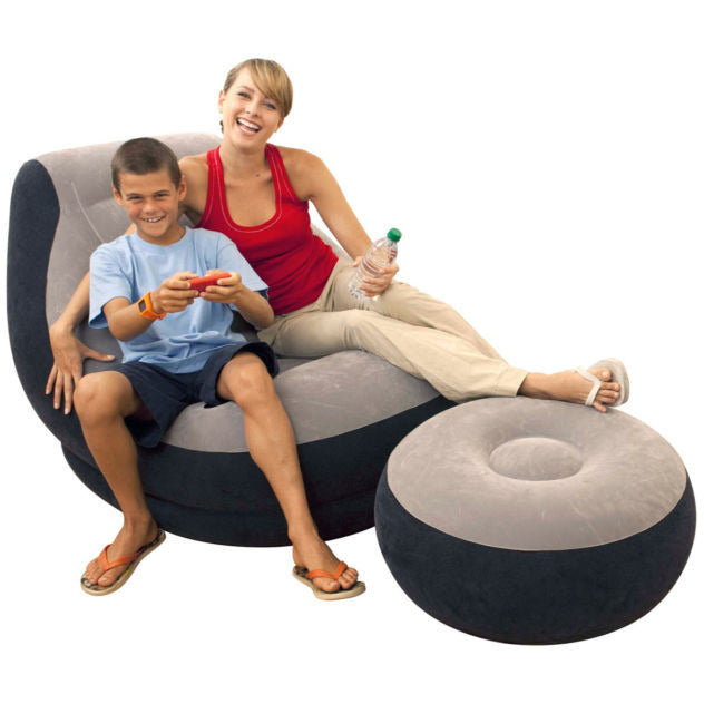 Intex Inflatable Ultra Lounge Chair With Cup Holder And Ottoman Set | 68564E
