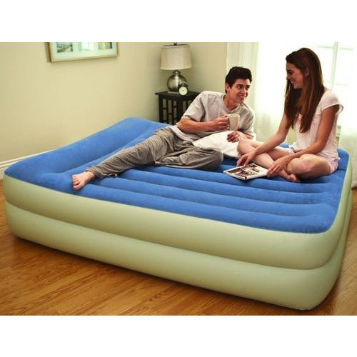 INTEX Queen Inflatable Raised Air Bed with Built in Pump Double Airbed Mattress