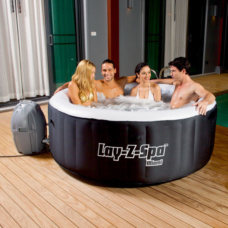 "Bestway 71"" x 26"" Lay-Z-Spa Miami Inflatable Portable 4-Person Hot Tub 