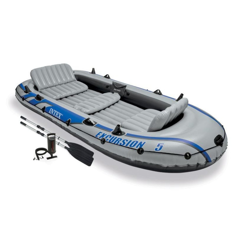 Intex Excursion 5 Inflatable Rafting and Fishing Boat Set with 2 Oars | 68325EP