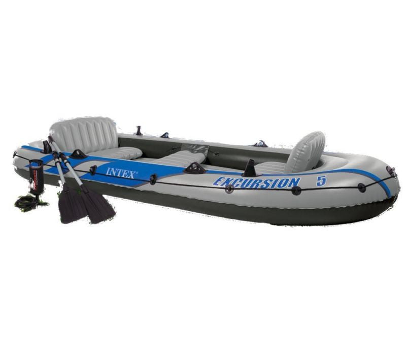 5 Person Inflatable Raft Fishing Boat Set Rafting Dinghy Pump Motor Water Oars
