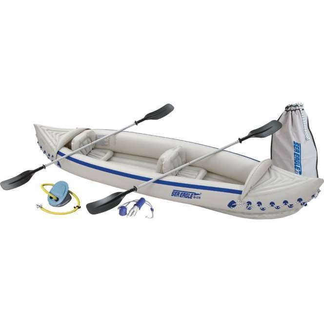 NEW SEA EAGLE 370 Deluxe 3 Person Inflatable Kayak Canoe w/ Paddles & Repair Kit