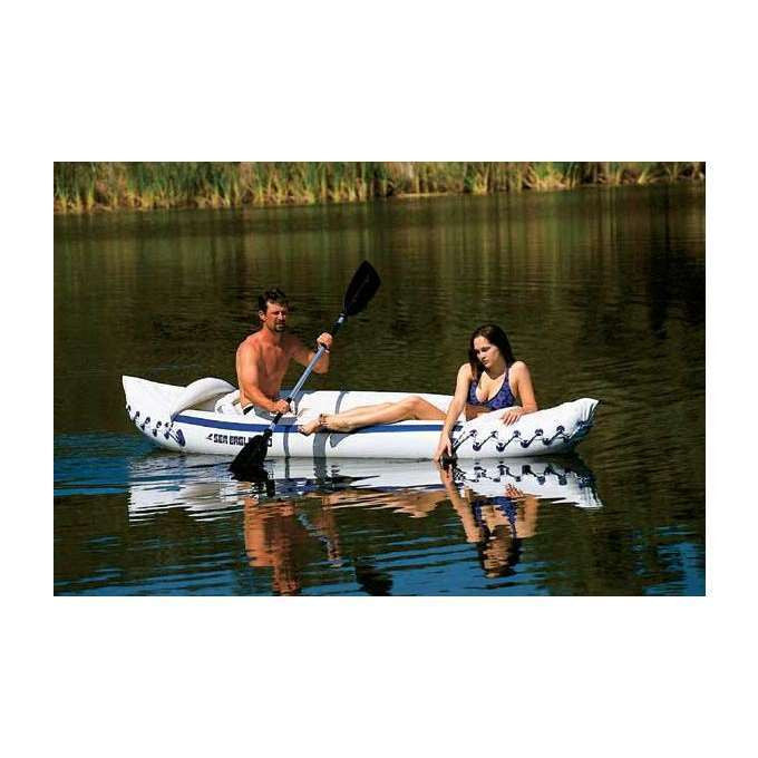 SEA EAGLE 330 Deluxe 2 Person Inflatable Kayak Canoe w/ Paddles & Repair Kit