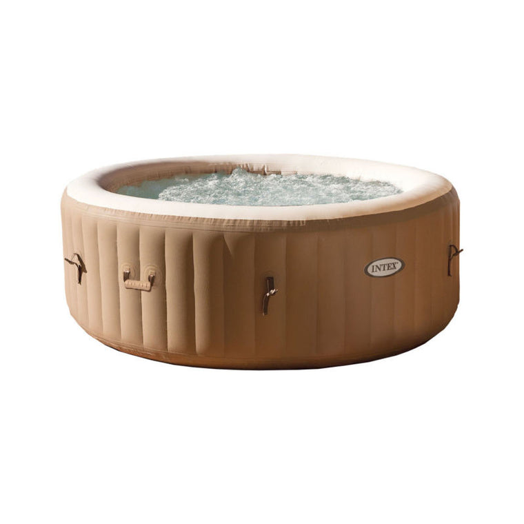 Intex PureSpa 4-Person Inflatable Bubble Jet Spa Portable Hot Tub, Tan | 28403E