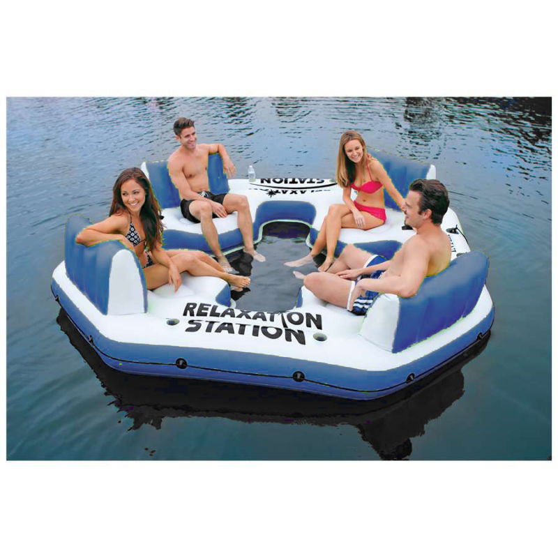 Relaxation Station Island Inflatable Oasis Lounge Floating Swimming Pool Raft