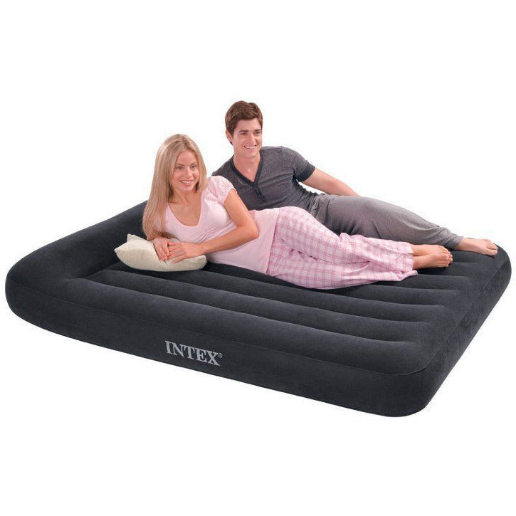 Intex Classic Inflatable Full Air Mattress Bed With Built-In Pillow Rest + Pump