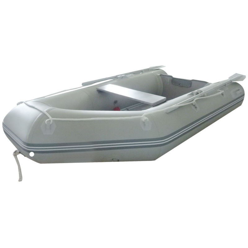 New 1.2mm PVC 9' Inflatable Boat Tender Raft Dinghy With Floor Gray