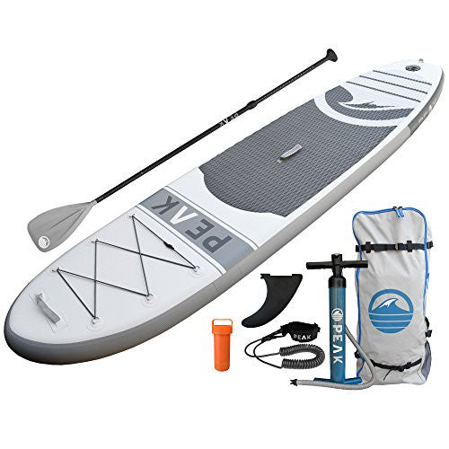 PEAK Inflatable Stand Up Paddle Board with Adjustable Paddle, Travel Backpack and Coil Leash, 126 x 31 x 6-Inch