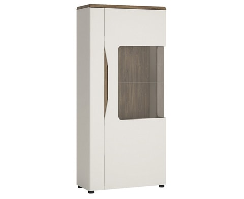 Toledo Wooden 1 Door Low Display Cabinet (RH or LH)  in Alpine White & Stirling Oak