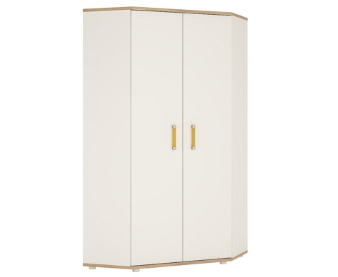 4KIDS Wooden Corner Wardrobe in Light Oak & White High Gloss - 4 Colours