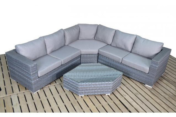 Platinum Grey Angle Corner Sofa & Coffee Table
