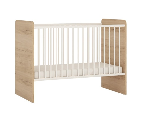 4KIDS Wooden Baby Cot in Light Oak & White High Gloss