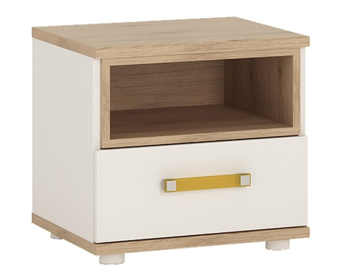 4KIDS Wooden 1 Drawer Bedside Cabinet in Light Oak & White High Gloss- 4 Colours