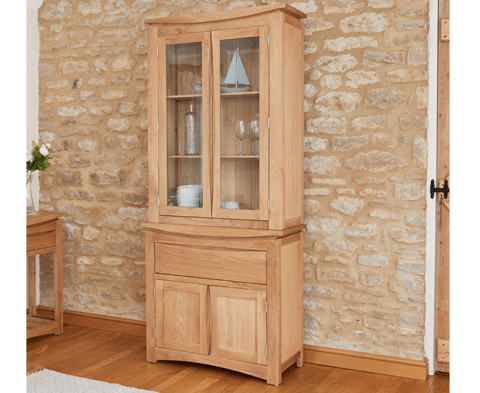 Roscoe Contemporary Solid Oak Glazed Display Cabinet