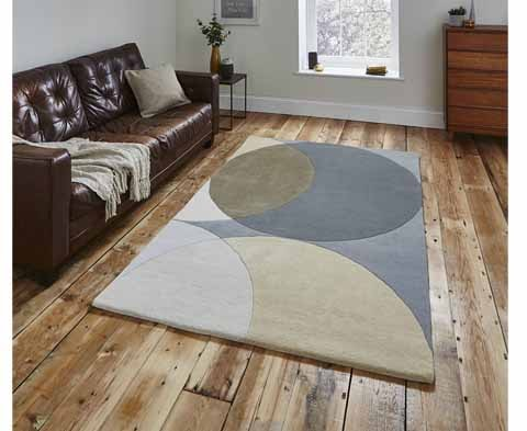 Hand Made Modern Elements EL43 Grey Wool Rug - 2 Sizes