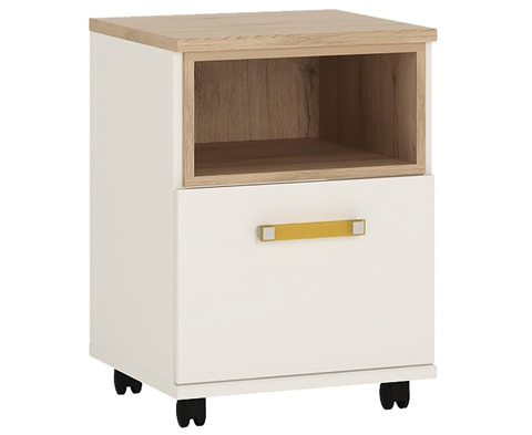 4KIDS Wooden 1 Door Desk Mobile in Light Oak & White High Gloss - 4 Colours