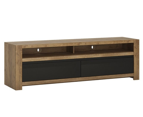Modern Havana Wide 2 Drawer TV Unit in Oak