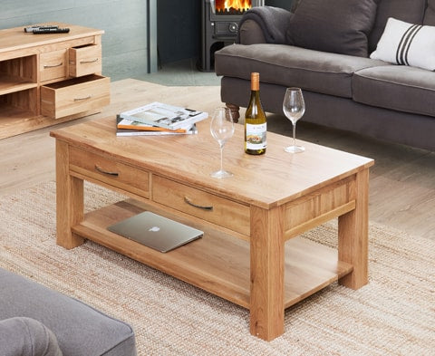 Mobel Solid Oak Wood Four Drawer Coffee Table
