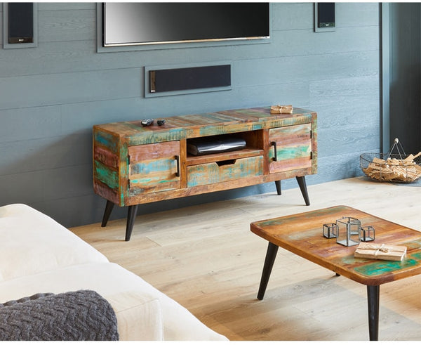 Coastal Chic Solid Reclaimed Wood Widescreen TV Cabinet