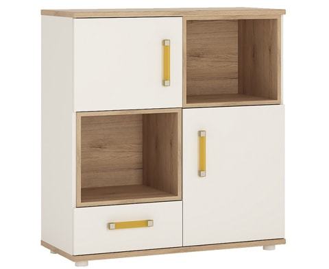4KIDS Wooden 2 Door 1 Drawer Cupboard with 2 Open Shelves - 4 Colours