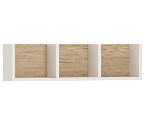 4KIDS Wooden 70 cm Sectioned Wall Shelf in Light Oak & White High Gloss