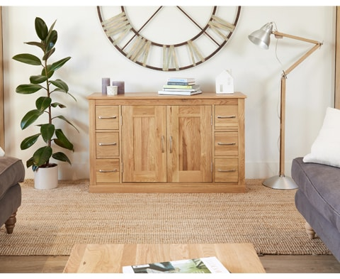 Mobel Solid Oak 6 Drawer 2 Door Sideboard