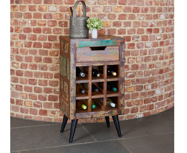 Coastal Chic Solid Reclaimed Wood Wine Rack / Lamp Table
