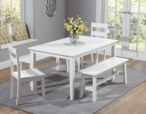 Chichester 150cm Solid Hardwood White Dining Table + 2 Chairs + 2 Large Benches