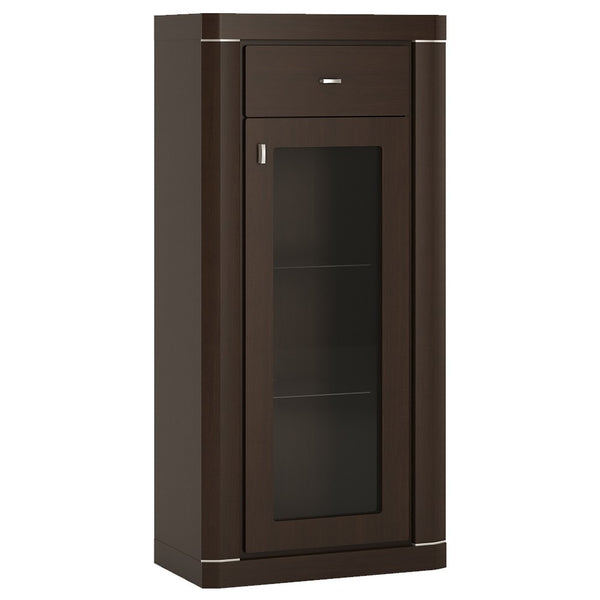 Camden Narrow 1 Door 1 Drawer Glazed Cabinet in Dark Wenge