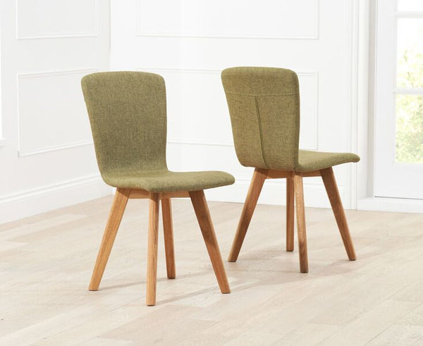 Tribeca Fabric Solid Oak Legs Dining Chairs (Pair)