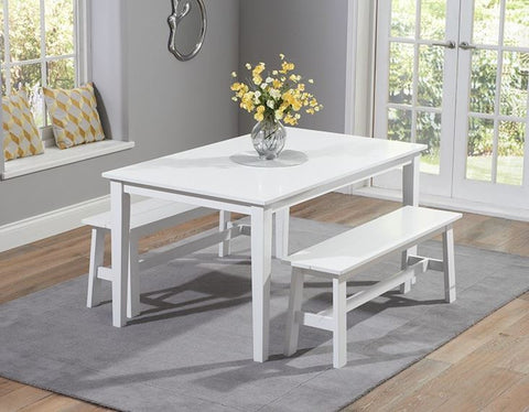 Chichester 150cm Solid Hardwood White Dining Table with 2 Large Benches