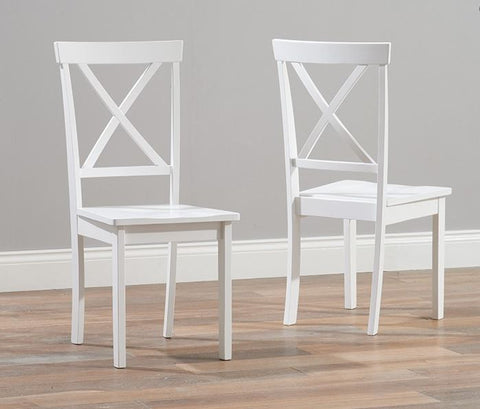 Elstree Solid Hardwood & Painted Dining Chairs (Pair) - White