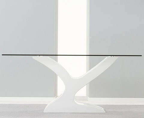 Natalie 180cm White Gloss and Tempered Glass Dining Table