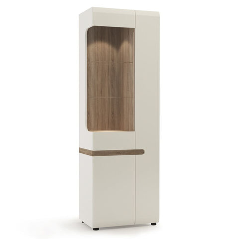 Chelsea Living Tall Glazed Narrow Display Unit (RHD) White with Truffle Oak Trim