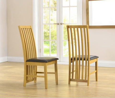 Long Island Solid Hardwood Dining Chairs with Brown PU Seat (Pair)